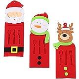 Toyvian Weihnachten Besteckbeutel Besteckhalter Messer Gabel Löffel Serviettentaschen 3pcs...