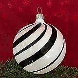 Generisch Christbaumkugel Black & White Weihnachtskugel Glas Baumkugel Glaskugel Lauscha (Spirale, 6...