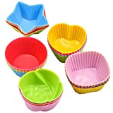 HQdeal Cupcake-Formen aus Silikon, 30 Stück Wiederverwendbare Backförmchen, Muffinförmchen,...