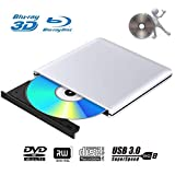 Externes 3D Blu Ray DVD Laufwerk Brenner USB 3.0 Tragbare Ultra Slim BD/CD/DVD RW Player Disc für...