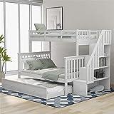GOUDAN Haus Etagenbett mit Leiter, mit Lagerung und Schlafzimmer Guardrail, weißes, hölzernes...