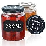 Praknu 25 Marmeladengläser 230 ml mit Deckel und Etiketten - Luftdichte Einmachgläser zum...