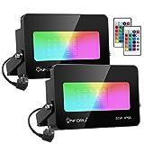 Onforu 2er 35W RGB LED Strahler mit Fernbedienung, Farbig Fluter 16 Farben und 4 Modi, Farbwechsel...