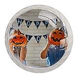 Schränke Hardware Runde Möbelknöpfe Halloween Zwei Kinder und Kürbis-Laterne Muster Druck...