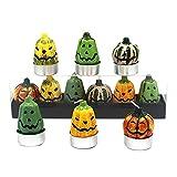 6 Stück Teelichter Kerzen Halloween Kürbis Deko Outdoor Paraffin Party Terrasse Tischdeko, Für...
