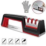 SKEY Messerschärfer mit kratzfesten Handschuh, 3 Stufen Messerschaerfer, Messerschleifer Knife...