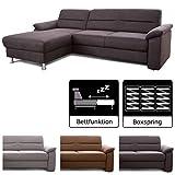 Cavadore Ecksofa Ascaro mit Longchair links, Boxspring-Sofa mit Bettfunktion im modernen Design, 254...