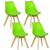 WOLTU 4er Set Esszimmersthle Kchenstuhl Design Stuhl Esszimmerstuhl Kunstleder Holz Grn BH29gn-4