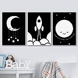 BIANWENSUAI Moon Sun Rocket Schwarz-Weiß-Wand-Kunst-Leinwand-Malerei Nordic Poster und Drucke...