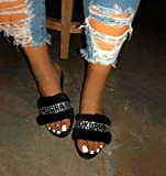 ZSNB Fashion Trend Hair-Sandelholz-Frauen Flanell Strass Digital Color Flache Schuhe Damen...