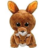 TY 37046 Kangaroo Kipper, Känguru 24cm, mit Glitzeraugen, Glubschi's, Beanie Boo's, braun
