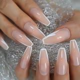 HUJL Künstliche Nägel Gefälschtes Nagelkleber French Glossy White Tape auf extra langem Nagel...
