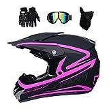 Fullface Motocross Helm Set mit Brille Handschuhe Maske, Motorrad Crosshelm Pocket Bike Helm Kinder...