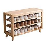 CHL Sitzbank mit Stauraum Holz DREI Stockwerke Schuhregal Platz für 9-15 Paar Schuhe (Color :...