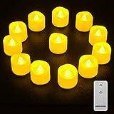 LED Kerzen, Qxmcov 12er LED Teelichter mit Fernbedienung, Flammenlose Kerzen Flackernde Flamme...