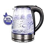 QUEENSENSE Wasserkocher Glas Teekocher 1.7 Liter Elektrischer Wasserkessel mit Filterauslauf,...