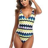 Damen Einteiliger Badeanzug Neckholder Monokini Schwimmanzug Gepolsterter Padded V-Ausschnitt Bikini...