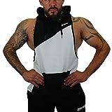 Brachial Herren Tank-Top Task mit Kapuze Schwarz/Weiß XL - Hardcore Muscle Shirt für Bodybuilding...