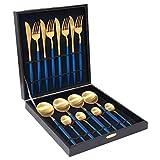 CJTZMLA11 Schön 18/10 Qualitäts-Edelstahl-Steak-Messer-Gabel Geschirr Blau Gold Besteck Set mit...