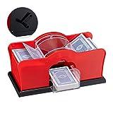 Relaxdays Kartenmischmaschine, 2 Decks, Kurbel, manuelles Mischgerät für Spielkarten bis 91 mm,...