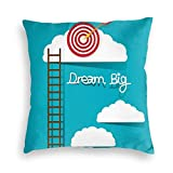 Velvet Pillow Case,Dream Big Phrase with Dart Board Fluffy Clouds Staircase Optimistic...