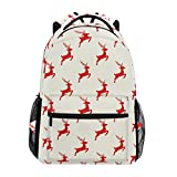 MONTOJ Red Christmas Rentier Poster Travel Bag Campus Rucksack