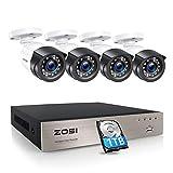 ZOSI Outdoor 1080P Überwachungskamera Set 8CH H.265+ DVR mit 1TB Festplatte und 4X 1080P Außen...