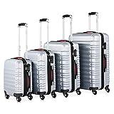 Monzana Baseline 4er Set Koffer |Silber S, M, L, XL|Gelgriffe Zahlenschloss| Reisekoffer Trolley...