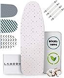 lamodo® - Bügelbrettbezug für Dampfbügeleisen 100% Baumwolle, Komfort Polsterung, Gummizug - M