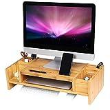 SONGMICS Monitorständer mit Stauraum, ergonomischer Bildschirmständer aus Bambus für Monitor oder...