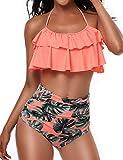 wishpower Damen Mädchen Badeanzug 2-teilig Bikini-Set hohe Taille Rüschen Falbala Bademode...