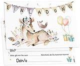 12 Einladungskarten Boho Reh Mädchen Kindergeburtstag Kinder Party Geburtstag-Einladungen zum...