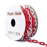25m Absperrkette Plastikkette Kunststoffkette rot/weiß Ø 6mm Kette Warnkette Parkplatz...