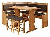 Eckbankgruppe Miki, Erlenholz, Eckbank Gruppe besteht aus Kücheneckbank, 2X Hocker, Tisch,...