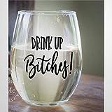 Drink Up Bitches Kristall-Weinglas, ohne Stiel, graviertes Whiskyglas, Schnapsglas, perfekt für...
