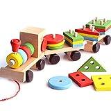 Klassisches Hölzernes Zug-Kleinkind-Spielzeug, Geometrisches Stapeln des Puzzle-Holzblocks,...