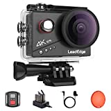 LeadEdge Action Cam 4K 20MP EIS Anti-Shake Externes Mikrofon Rotfilter 2.0 IPS LCD WiFi 170 °...