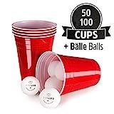 Vivaloo 100 Plastikbecher Bierpongset, 12 Blle - Trinkbecher Red Cups, Rote Beer Pong Becher 473ml...