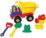 Idena 40161 - Sandspielzeug Set 6 teilig bestehend aus einem LKW, Harke, Schaufel, 2 Förmchen und...