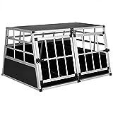 Cadoca Hundetransportbox XL robust verschließbar aus Aluminium Autotransportbox Tiertransportbox...