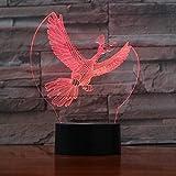 7 Bunte USB Vogel 3D Illusion Lampe Schlafzimmer Schlaf Licht LED Tischlampe Kind Nachtlichter...