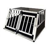 Gegaden Hunde Transport Box mit 2 Türen Alu Hunde Box für den Transport MDF Platten Aluminium...