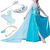 Yigoo ELSA Kleid Eiskönigin Prinzessin Kostüm Kinder Glanz Kleid Mädchen Weihnachten Verkleidung...