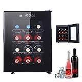 DORALO Weinkühlschrank, Getränkekühlschrank, 32 Liter, 12 Flaschen, 4 Verchromte Regaleinsätze,...