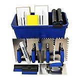 DEWEPRO® 16-teiliges Fliesenleger Waschset XL - 22l Waschbox - Zahnkellen - Schwammbrett