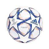 adidas Men's FIN 20 COM Soccer Ball, White/Team royal Blue/Signal Coral/Sky Tint, 5
