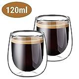 Glastal Doppelwandige Espressotassen Espresso Gläser Glas Set 2-teiliges 120ml(Volle Kapazitat)