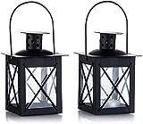 Sinrextraonry 2 Stück Vintage schwarze Mini-Kerzenlaternen, 9 cm, Metall Teelicht im marokkanischen...