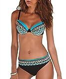 Itsmode Damen Bikini Set Badeanzug Zweiteiler Bademode Sexy Bikini Beachwear Tankini Set Badeanzug...
