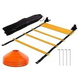 Tebery Sport Trainingsleiter 7 m 13 Rungs Dauerhafte Fußball Koordinationsleiter Inklusive Orange...